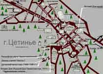 карта Цетинье Черногория