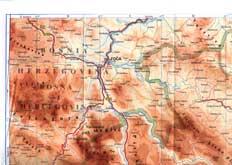карта истока реки Пива и верховья реки Тара